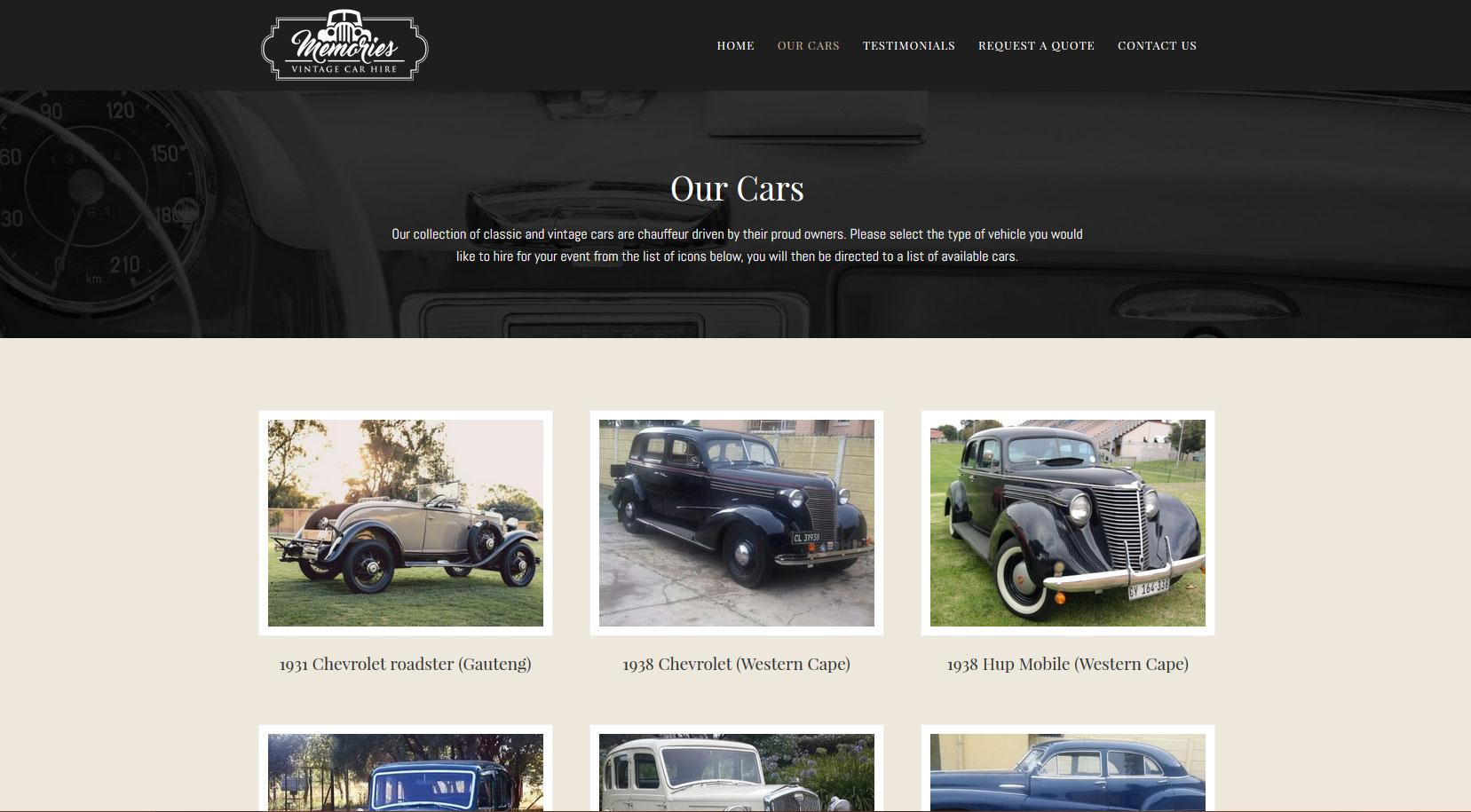 Memories Vintage Car Hire | PixelBrick Digital Design